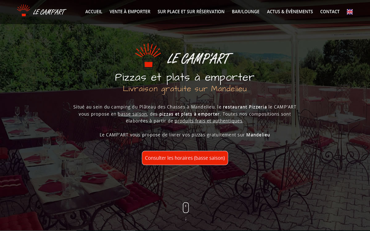 Site web du restaurant le Camp'Art